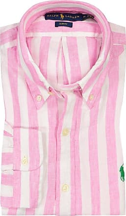 Polo Ralph Lauren Gestreiftes Leinenhemd, Slim Fit von Polo Ralph Lauren in Pink für Herren