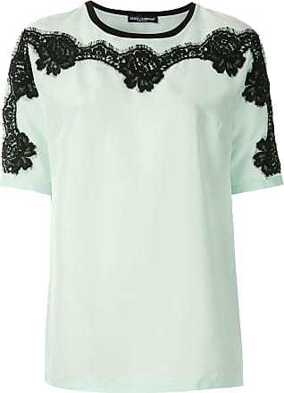 Dolce & Gabbana T-shirt de seda detalhe rendado - Verde