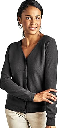 WoolOvers Womens Cashmere Merino Classic V Neck Cardigan Dark Charcoal, XL