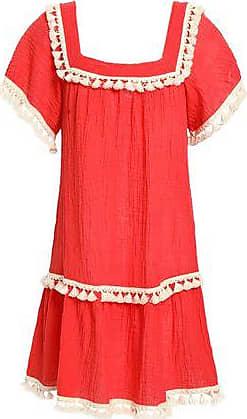 Eberjey Eberjey Woman Tasseled Crinkled Cotton-gauze Mini Dress Red Size S/M