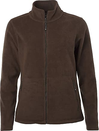 James & Nicholson Ladies Fleece Jacket with Stand-up Collar in Classic Design (XL, Brown)