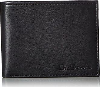 Ben Sherman Kensington Sheepskin Leather Passcase Wallet With Flip Up ID Window (RFID), Black