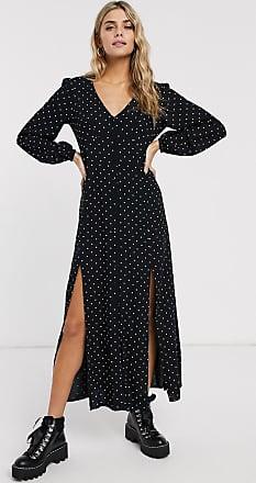 Miss Selfridge maxi tea dress in polka dot-Black