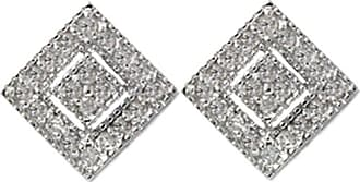 Pompeii3 30CT Pave Diamond Studs 14k White Gold Womens Earrings Square Princes Cut Shape