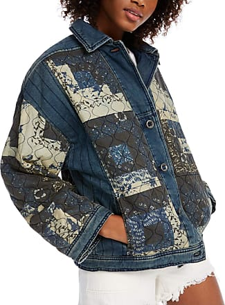Free People Womens Navy Button Down Jacket Size: L