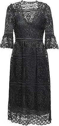 cef00fb28fef Temperley London Temperley London Woman Titania Guipure Lace Midi Dress  Black Size 12