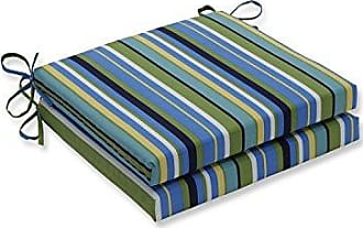 Pillow Perfect Outdoor/Indoor Topanga Stripe Lagoon Squared Corners Seat Cushion 20x20x3 (Set of 2)