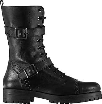 Firetrap Womens Hatti Boots Rugged Lace Up Zip Ankle High Strap Rounded Toe Black UK 5 (38)