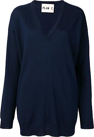 Plan C Suéter longo decote em V - Azul