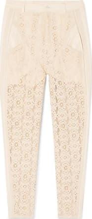 Philosophy di Lorenzo Serafini Gauze-trimmed Cotton-blend Lace Straight-leg Pants - Ivory