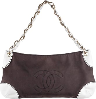 5bd123df9689 Chanel Brown Canvas   White Leather Shoulder Bag Purse Tote W  Cc Logo