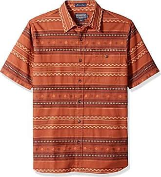 Pendleton Mens Short Sleeve Kay Street Shirt, Tobacco Stripe, MD