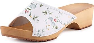 Ladeheid Women´s Wood Shoes Clogs House Shoes LAFA045 (White-3, 37 EU = 4 UK)