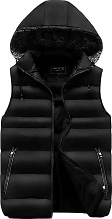 ZongSen Mens Body Warmer Cotton Blend Vest Waterproof Sleeveless Jackets Hooded Stylish Down Coat Black XL