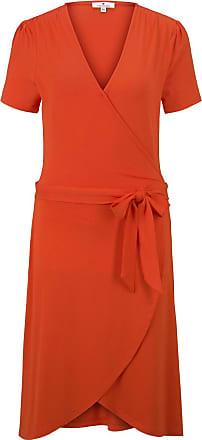 Tom Tailor Jersey Midikleid in Wickeloptik, Damen, strong flame orange, Größe: 36