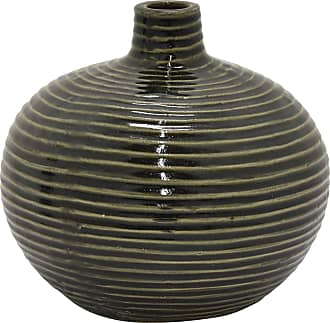 Three Hands Green and Black Ceramic Bud Vase - 55992
