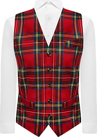 King & Priory Traditional Red & Yellow Tartan Check Tailord Fit Waistcoat, Scottish, Stewart, Scotland (Small | 36in Chest)