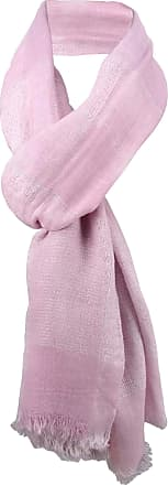 TigerTie linen scarf in pink Glitter thread with fringes - size 210 x 80 cm