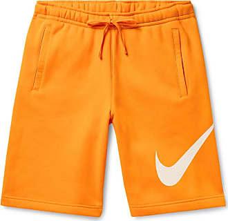 Nike Sportswear Club Logo-print Fleece-back Cotton-blend Jersey Drawstring Shorts - Orange