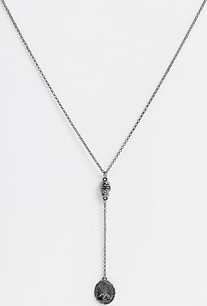 Icon Brand Catenina stile lazo con ciondoli a teschio e moneta color piombo-Argento