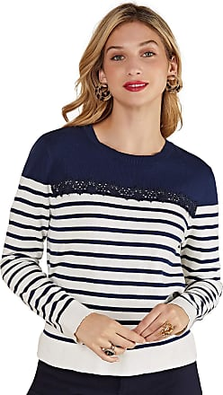 Yumi Navy Nautical Stripe Jumper with Lace Detail