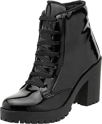 Generico Bota Feminina Modelo Ankle Boot Cano Curto Top Line material ecologico DD30 (38, preto verniz)