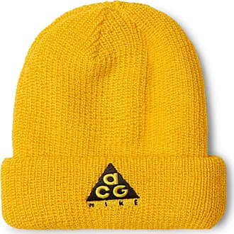 9bf54052647 Nike Acg Logo-embroidered Ribbed-knit Beanie - Yellow