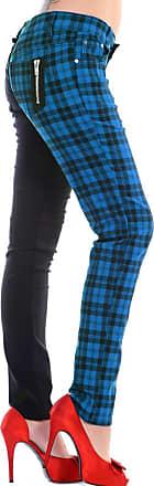 Banned Clothing Punk Skinny Jeans Tartan HALF Black/Blue M 10