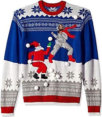 Blizzard Bay Mens Jesus Santa Snowball Fight Ugly Christmas Sweater, blue, Medium