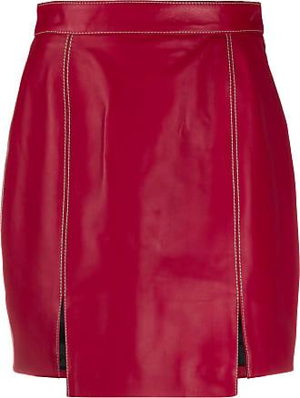 Kirin Saia cintura alta de couro - Vermelho
