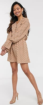 In The Style x Stephsa exclusive frilly button through skater dress in tan polka print-Multi