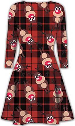 Kids Santa Reindeer Swing Dress Girls Xmas Flared Franki Christmas Rudolph Dress