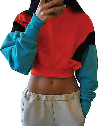 Isshe Cropped Sweatshirts for Women Womens Oversized Crop Top Sweatshirt Cropped Jumper Womens Crew Neck Pullover Sweatshirts Plain Short Cropped Sweat Top