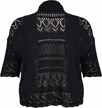 Purple Hanger Womens New Crochet Front Open Ladies Short Sleeve Knitted Bolero Cropped Cardigan Shrug Top Plus Size (24 / 26, Black)