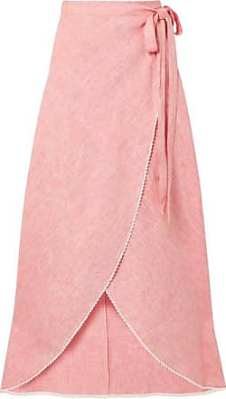 Miguelina Ballerina Crochet-trimmed Linen Wrap Maxi Skirt - Pink