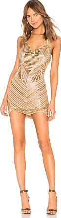 X by NBD Bono Embellished Mini Dress in Metallic Gold