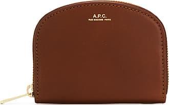 A.P.C. Carteira de couro com zíper - Marrom