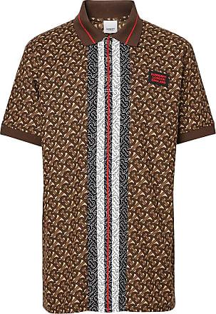Burberry Camisa polo com monograma e listas - Marrom