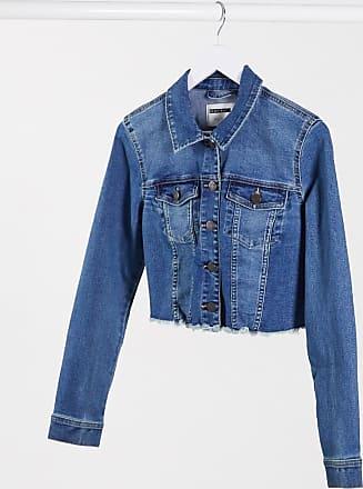 Noisy May Giacca di jeans corta con fondo grezzo blu scuro
