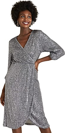 Yumi Grey Sequin Wrap Over Party Dress