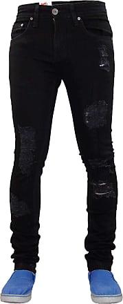 True Face Mens Skinny Fit Jeans Stretch Ripped Zip Fly Bottoms Belt Loop Trouser Denim Pants Black 30R