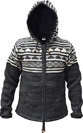 Gheri LITTLE KATHMANDU Snowflake Winter Double Knitted Hand Made Jacket Hoodie, Multicoloured, S