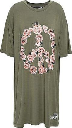 Love Moschino Love Moschino Woman Floral-print Stretch-modal Mini Dress Army Green Size 40
