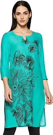 Indigo Womens Rayon Straight Kurta (SS-19/IND-1090_ Turquoise_ Medium)