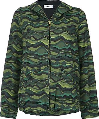 Amir Slama wave print hoodie - Green