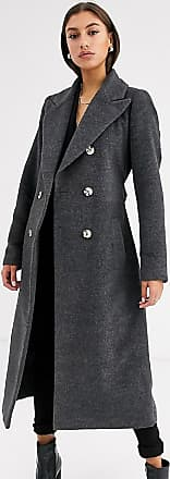 Glamorous double breasted coat with tie waist-Grey