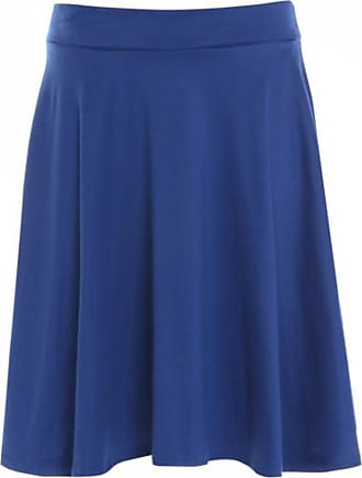 Purple Hanger Womens Plain Soft Stretch Ladies Elasticated Waistband Knee Length Full Flared Swing Skater Midi Skirt Plus Size Royal Blue Size 26 - 28