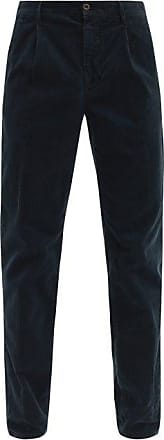 Incotex Pleated Cotton-blend Corduroy Tapered Trousers - Mens - Navy