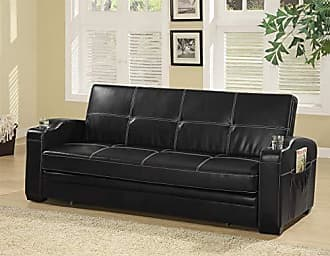 Coaster Fine Furniture 6231003 Nicolas Sleeper Sofa Bed with Storage and Cup Holders Black