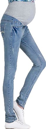 Inlefen Vintage Maternity Jeans: Over The Bump,Pregnancy Denims Look Leggings Waistband Light Blue M